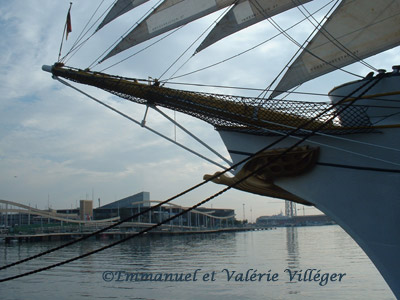 Sailing ship in the harbour of Barcelona