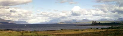 Duart Castle and a panoramic view towards mainland, Morven and the isle of Lismore