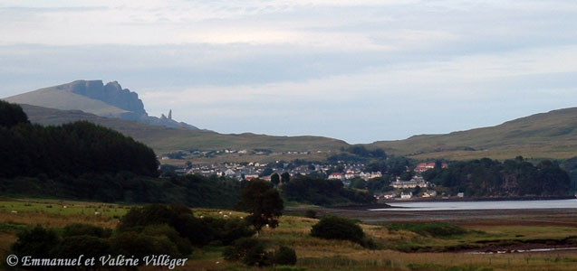 General view of Portree from the road to Penifilar, Storr and its old man in the background
